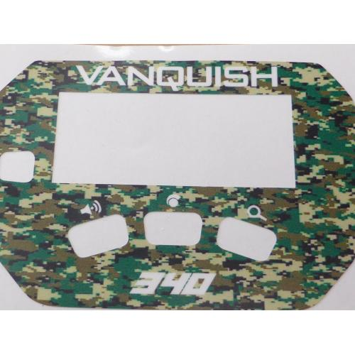 A MINELAB Vanquish 340 Keypad sticker in Green Camo