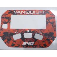 A MINELAB Vanquish 340 Keypad sticker in Red Camo