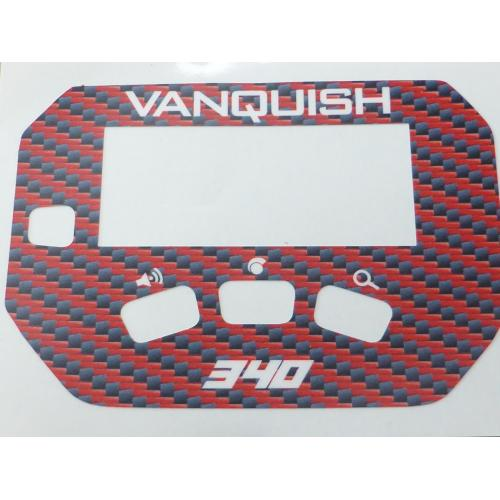 A MINELAB Vanquish 340 Keypad sticker in Red Carbon