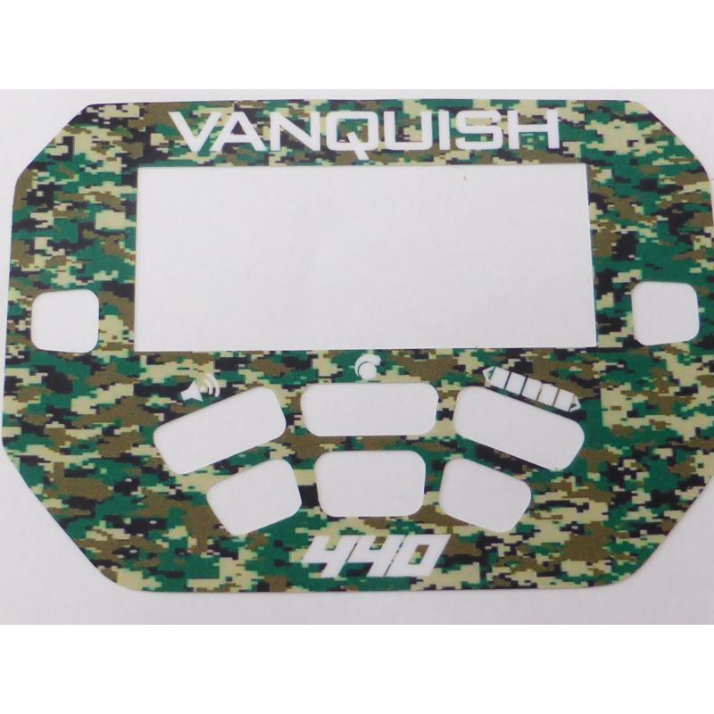 A MINELAB Vanquish 440 Keypad sticker in Green Camo