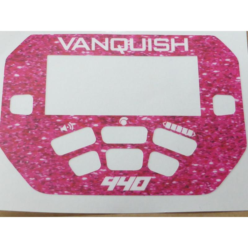 A MINELAB Vanquish 440 Keypad sticker in Pink Sparkle