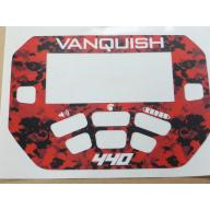 A MINELAB Vanquish 440 Keypad sticker in Red Camo