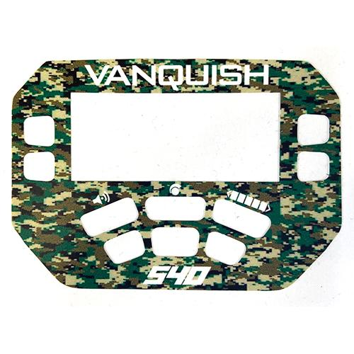 A MINELAB Vanquish 540 Keypad sticker in Green Camo