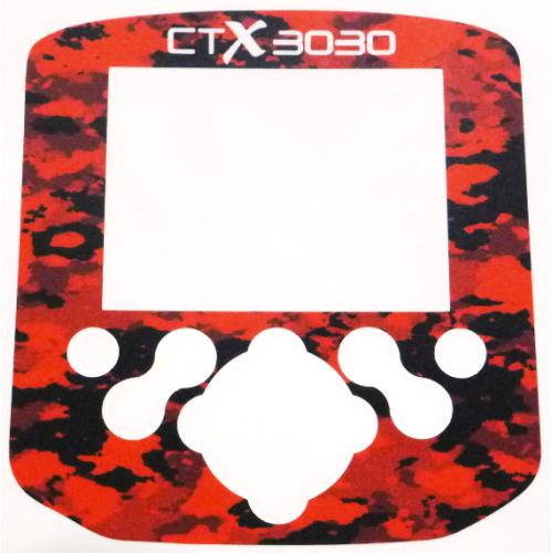 A Minelab CTX Control box / Keypad sticker in Red Camo colour.
