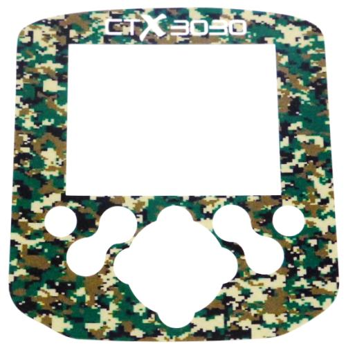 A Minelab CTX Control box / Keypad sticker in Camo Green.