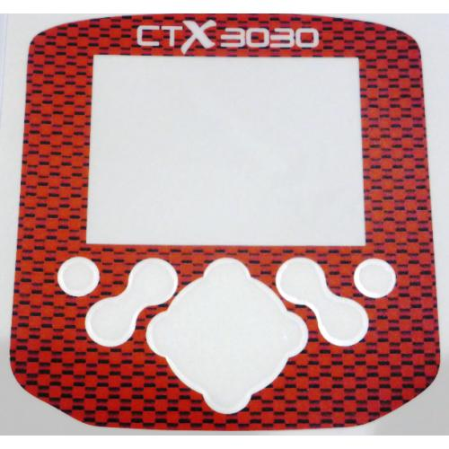 A Minelab CTX Control box / Keypad sticker in close weave Red Carbon.