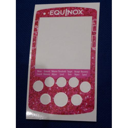 A MINELAB NOX FULL FACE KEYPAD STICKER IN PINK SPARKLE .