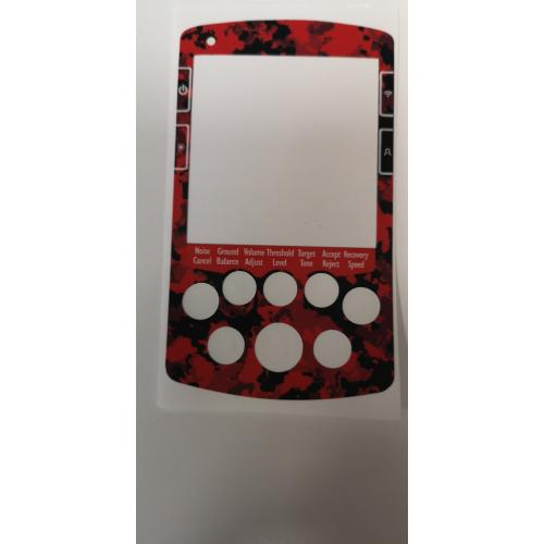 A MINELAB NOX FULL FACE KEYPAD STICKER IN RED CAMO