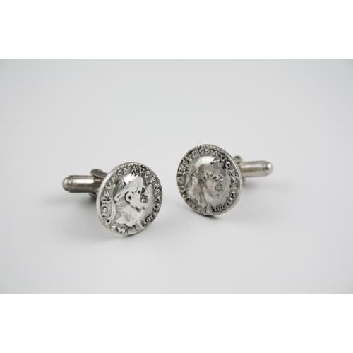 Silver Coin Cuff Links (Roman & Medieval types)